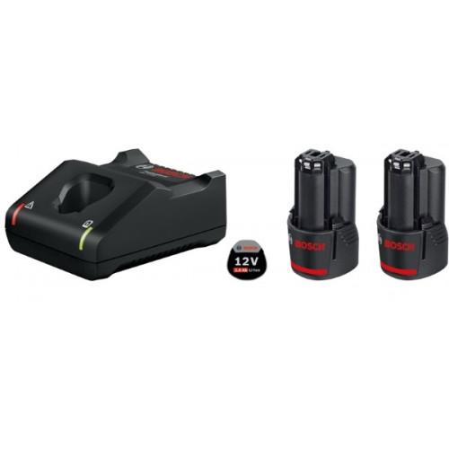 Набор Bosch из 2 аккумуляторов GBA Li-Ion 12 В / 2 Ач + зарядное устройство (1600A019R8)