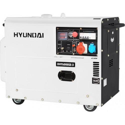 Дизельный трехфазный генератор Hyundai DHY 6000SE-3