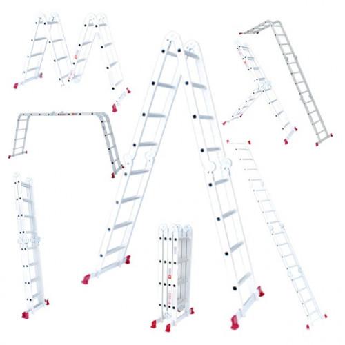 Лестница алюминиевая мультифункциональная трансформер 4*3ступ., 3.70м Intertool LT-0030
