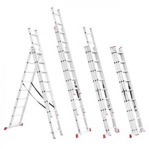 Лестница алюминиевая 3-х секционная универсальная раскладная 3*9ступ. 5.93м Intertool LT-0309