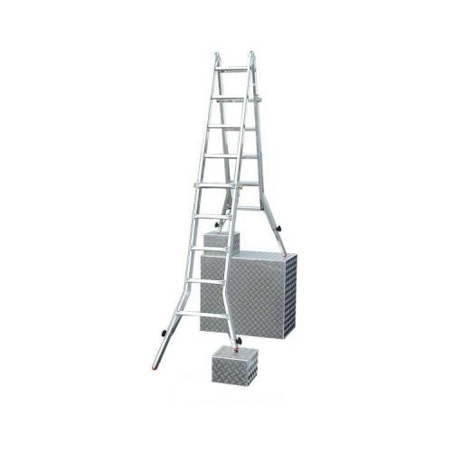 Шарнирная лестница телескопическая KRAUSE TeleVario 4x5 ступеней