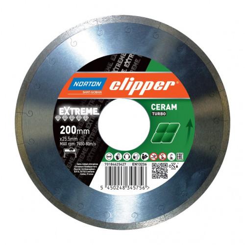 Диск алмазный по керамике Norton Clipper EXTREME TURBO H10 200x25,4 мм 70V026