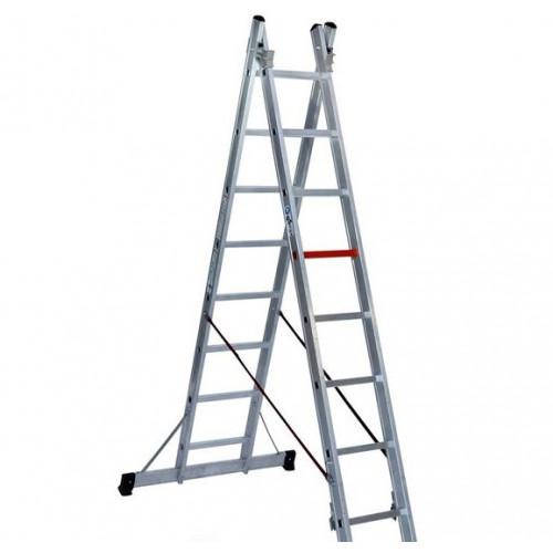 Двухсекционная алюминиевая лестница-стремянка VIRASTAR 2х8 ступеней