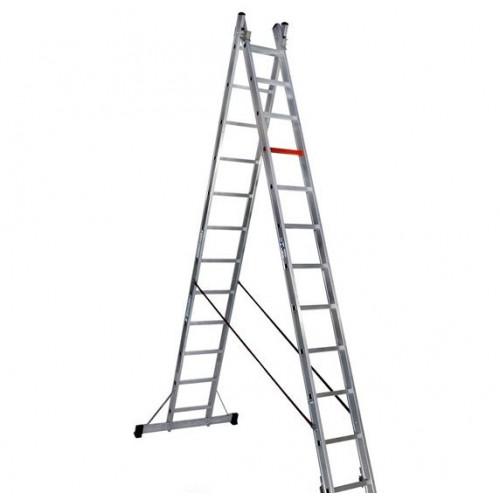 Двухсекционная алюминиевая лестница-стремянка VIRASTAR 2x12 ступеней