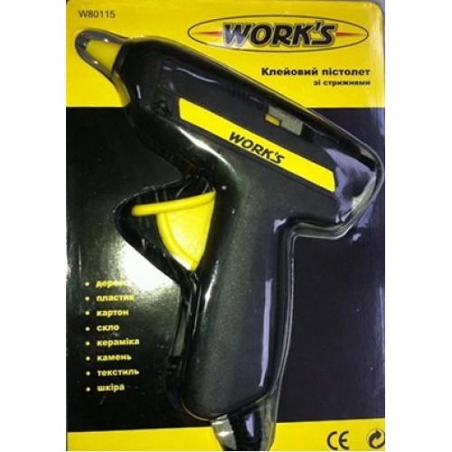 Клеевой пистолет Work`s W80115 15W со стержнями